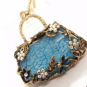 Betsey Johnson Blue Vintage Flower Crystal Necklac